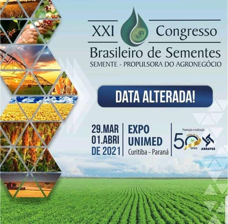 DATA ALTERADA PARA 2021 – XXI CONGRESSO BRASILEIRO DE SEMENTES